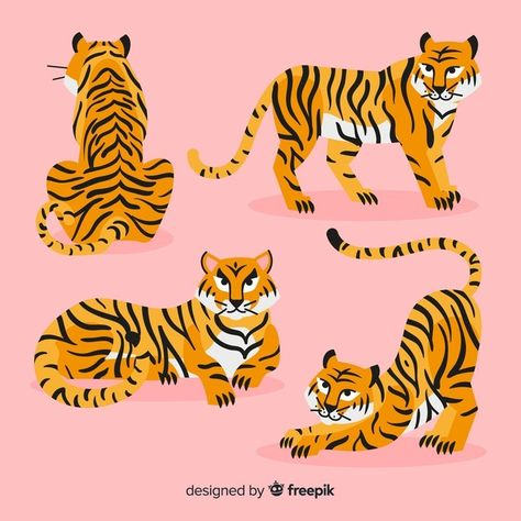 Download Hand Drawn Style Tiger Collection for free