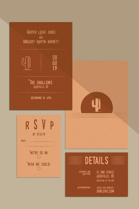Modern Desert Wedding Invitation Suite // Cactus Wedding Invitation // Palm Spring Wedding Invitation // DIY Wedding Invitation Set