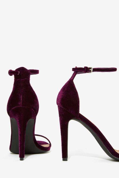 Nasty Gal Ivy Velvet Heel - Dark Romance | Dark Romance | Party Shop | Open Toe…