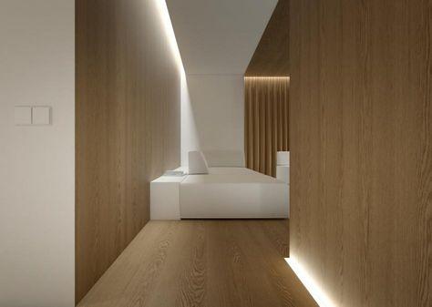 Holzpaneele an Wand und Boden und indirekte Beleuchtung 6 Og