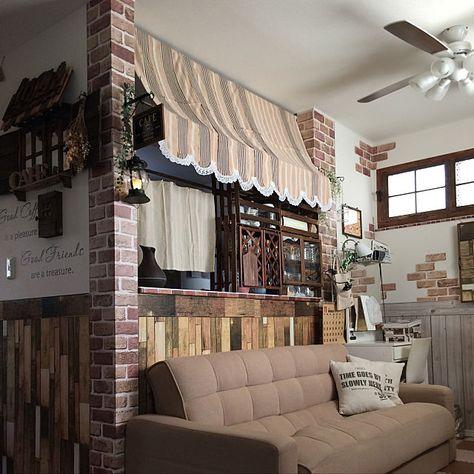 部屋全体 窓枠diy シーリングファン カフェ風 キャンドゥ などの
