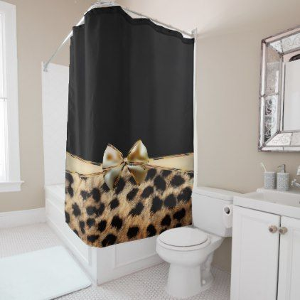 Black Gold Bow Leopard Cheetah Animal Print Shower Curtain
