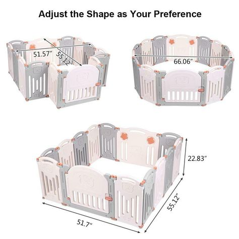 Indoor Outdoor Foldable 14 Panel Safety Play Center Baby Playpen Kids Yard Home