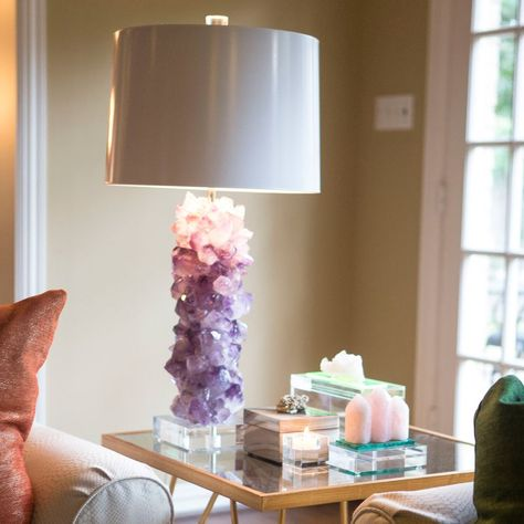 Amethyst Crystal Table Lamp Base Modern Lighting home accessories at it's finest. It goes well with your boho home decor. Table Lamp Base, Lamp Bases, Table Lamps, Displaying Crystals, Home Design, Interior Design, Design Design, Crystal Decor, Crystal Bedroom Decor