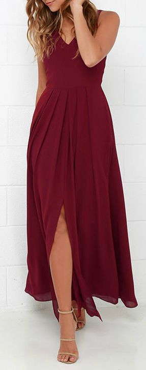burgandy/wine floor length bridesmaid dress, a great color for a fall wedding