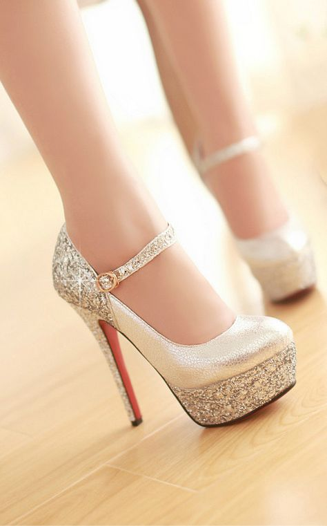 Silver Sparkle Mary Janes