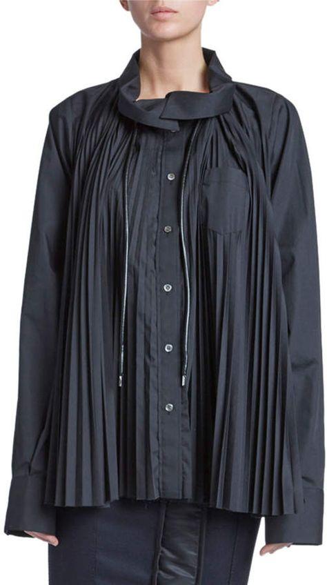 Sacai Pleated Ruffled Pleated Shirtdress