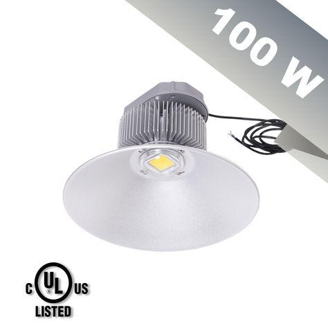 100w Nlco Led High Bay Light Equal 250w Hps Daylight White Light 5500 6500k Ul Compliant Driver High Bay Lighting High Bay Lights White Light