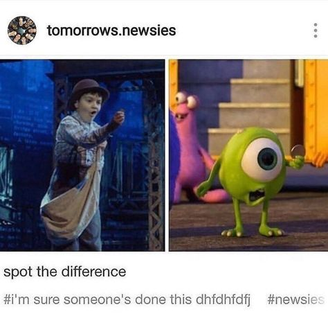 Newsies ~ These spot the difference games keep on getting harder and harder Stupid Funny, Haha Funny, Funny Jokes, Hilarious, Funny Stuff, Memes Humor, Broadway Theatre, Musical Theatre, Broadway Shows