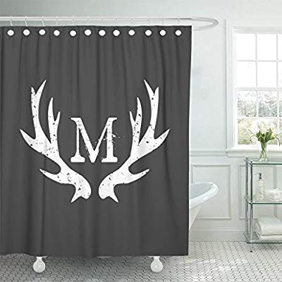 Amazon Com Accrocn Waterproof Shower Curtain Curtains Fabric Monogram Deer Antlers 60x72 Inches Decorativ Printed Shower Curtain Shower Curtain Curtain Fabric