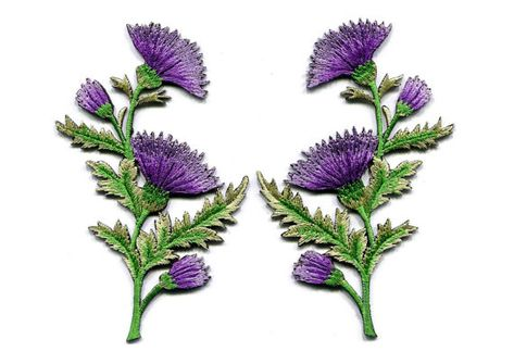 Iron on patch flower carnation spray thistle pair floral bouquet