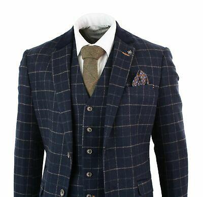 Mens 3 piece Suit Navy /& Orange Check Peaky Blinders Wedding Fitted Suit