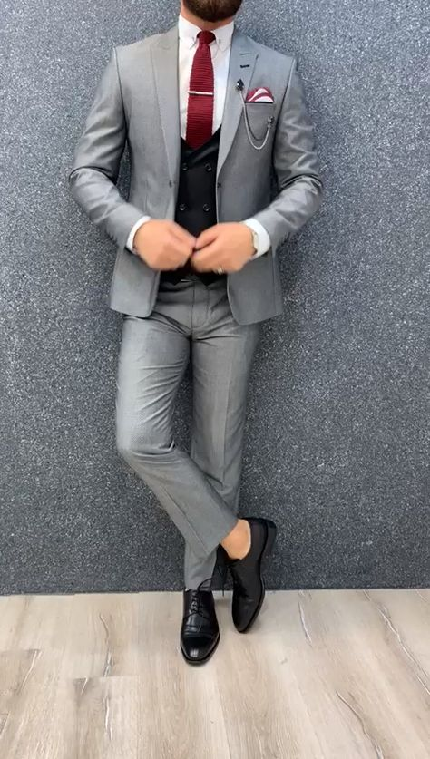 Shop Gray Slim Fit Birds Eye Wool Suit online at GentWith.com. Made with 70% wool and 30% polyester. FREE WORLDWIDE SHIPPING.
