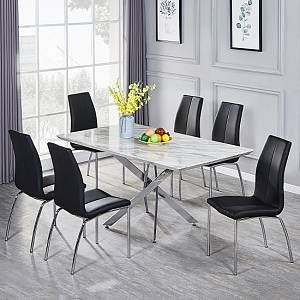 Deltino Grey Marble Effect Dining Table With 6 Opal Black Chairs Furniture In Fashion In 2020 Dining Table Grey Dining Tables Marble Tables Design