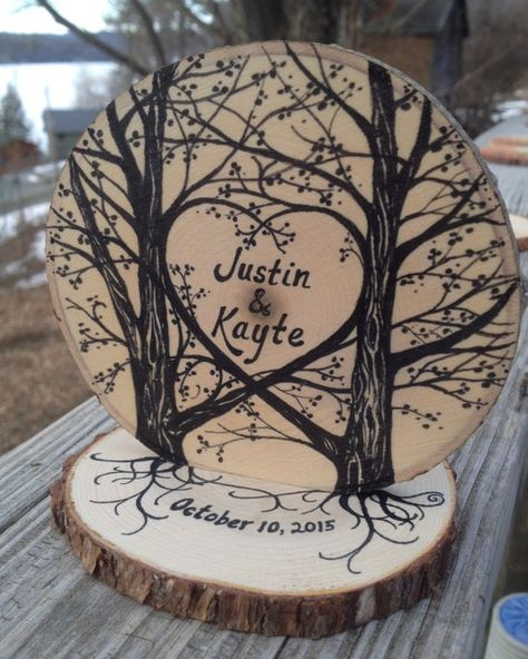 Black Ink on Natural Wood Rustic Wedding Cake Topper image 1