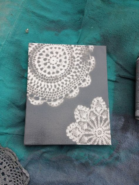 Adorable decor--Lay a doily on a piece of paper, then paint over it. When it is all dry frame your new DIY designer art!