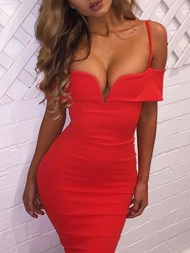 Shop Red V-neck Off Shoulder Spaghetti Strap Bodycon Midi Dress from choies.com .Free shipping Worldwide.$13.99