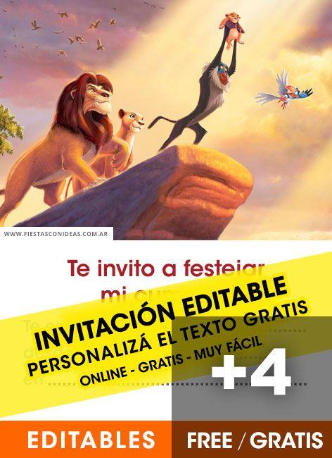 5 Tarjetas De Cumpleaños De El Rey León Gratis Para Editar