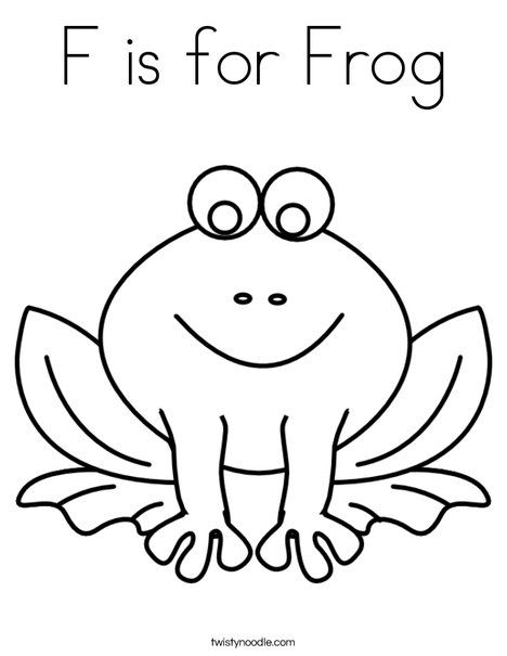 F is for Frog Coloring Page - Twisty Noodle | Learning at ...