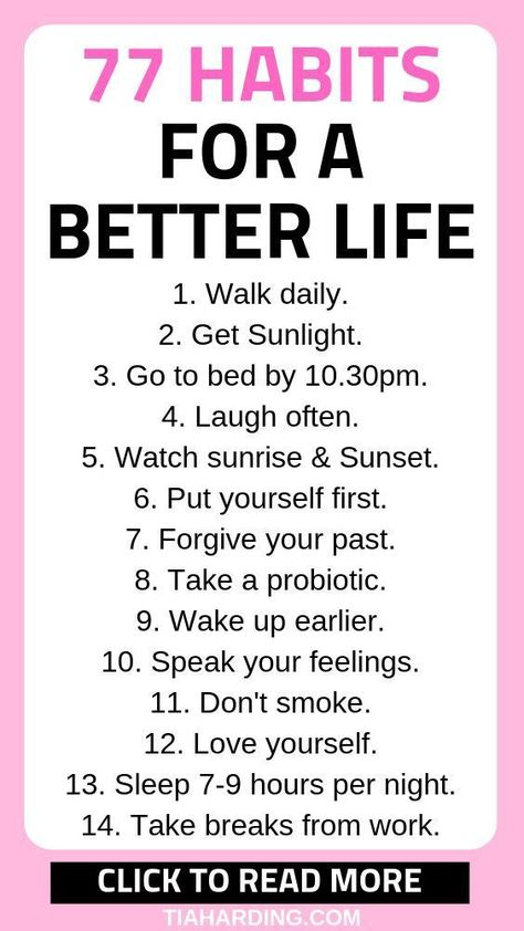 77 habits you can try to create a positive mindset and happy life. Click the pin to read more!