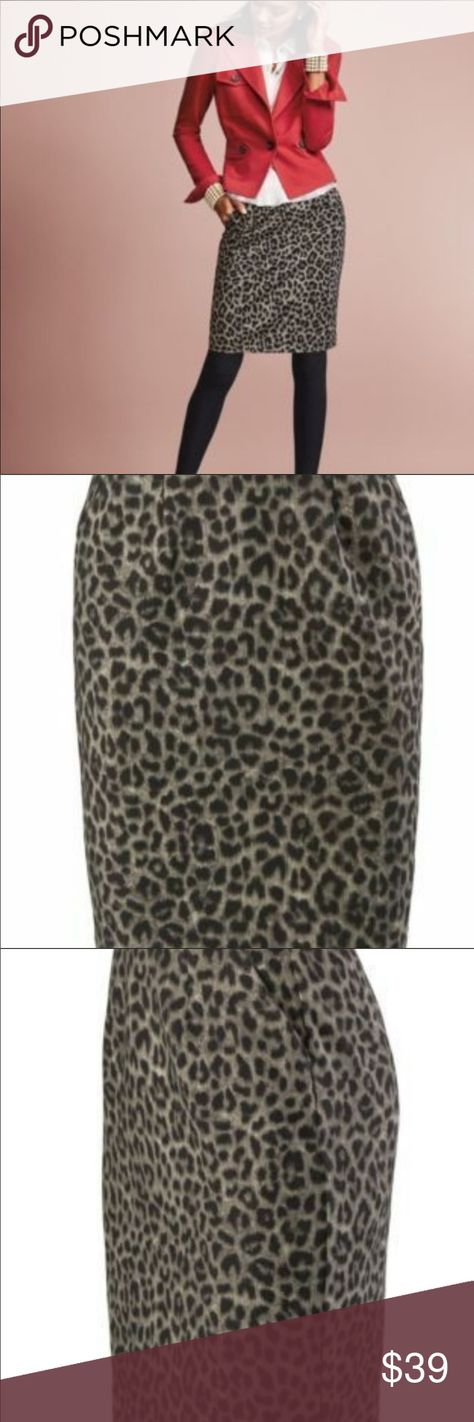 """🆕 CAbi Jungle Skirt #3402 Size 6 From the Fall '17 Collection, this classic pencil skirt w/hip pockets, is quality constructed w/a sleek pointe double knit. It's on-trend & fierce, yet timeless and classic. It's ultra soft and very flattering.  The mini pencil skirt skims your curves & has pockets that meet in the middle w/a vented hem & exposed back zipper to add more personality to an already charismatic little skirt! Waist: 15"""" Length: 18.5"""" Hip: 17"""" Excellent, barely worn condition (back sl"""