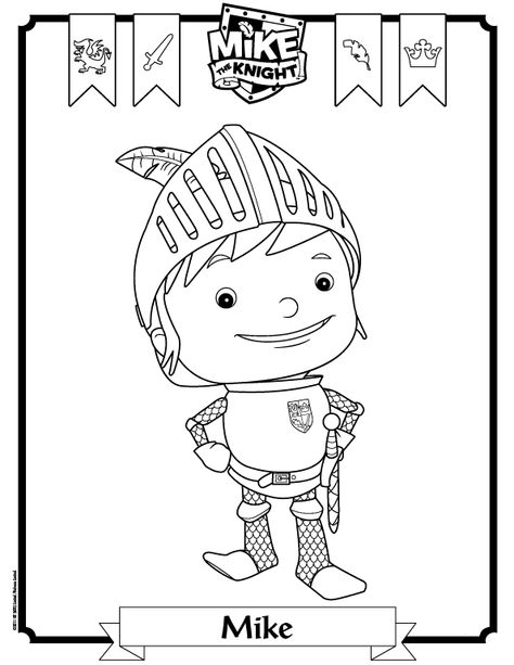 Mike The Knight B W Line Drawing Michael S Birthday Party Ideas Pinterest Rycar Illyustracii And Idei