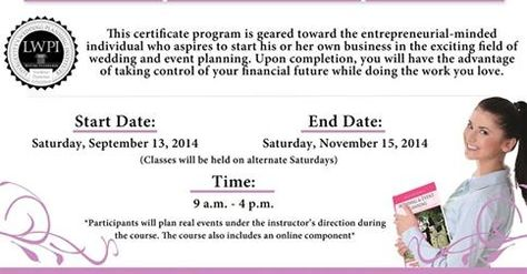 Utpa  Wedding Planning Certification Courses Certificate In