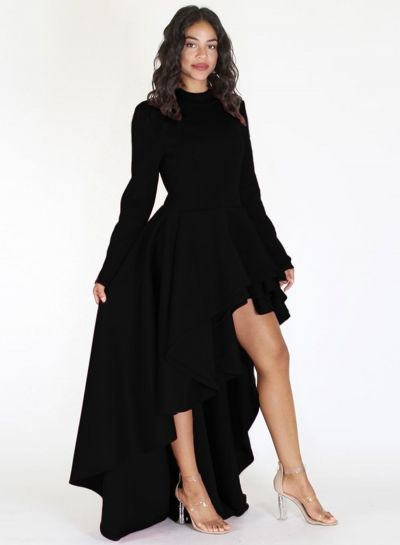 abe227fc27531 Solid Color Long Sleeve Mock Neck High Low Maxi Dress | betty poop ...