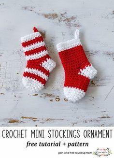 Crochet this easy mini stockings christmas ornament from my free crochet christmas ornaments roundup!