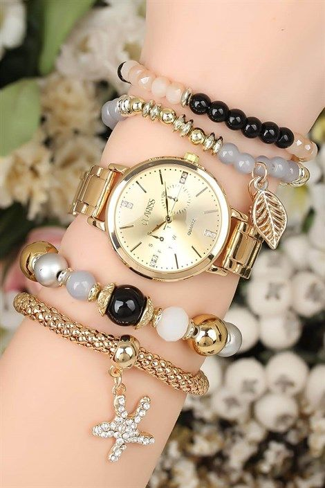 Metal Kordonlu Clariss Marka Bayan Saat Kombini Bracelet Watch Bracelet Set Gold Style