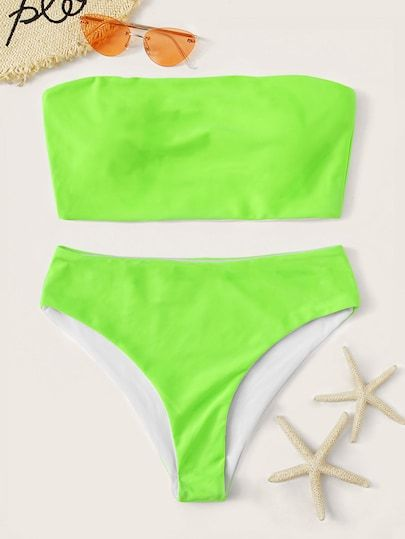 To find out about the Neon Lime Bandeau With High Leg Bikini Set at SHEIN, part of our latest Bikinis ready to shop online today!
