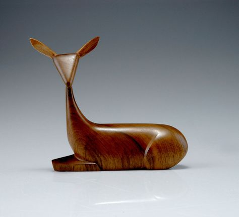 Franz Hagenauer, Small Deer, Carved Nutwood, 1945