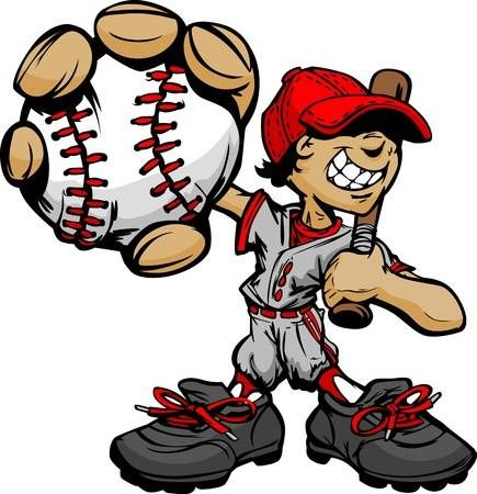 Baseball Boy Cartoon Player With Bat And Ball Illustration Cartoon Kids Baseball Cartoons Vector