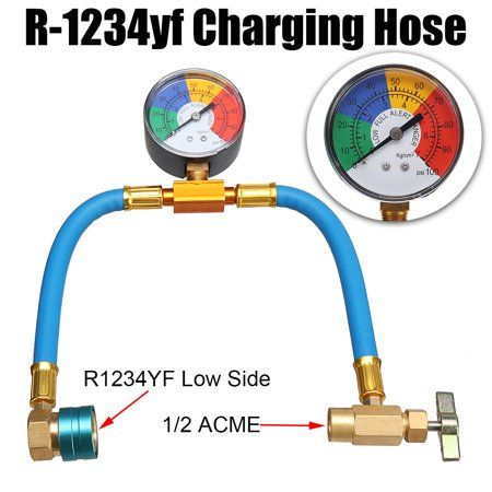 R 1234yf A C Service Charging Hose 100psi Gauge Coupler Cans Taper Blue Hose Taper Canning