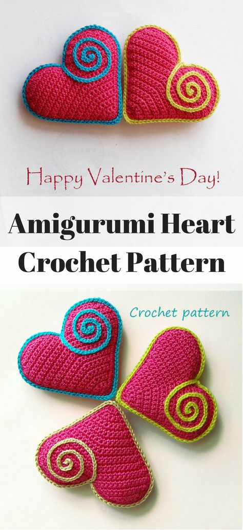 Corazoncitos, free amigurumi heart pattern (in 3 sizes ... | 1031x474