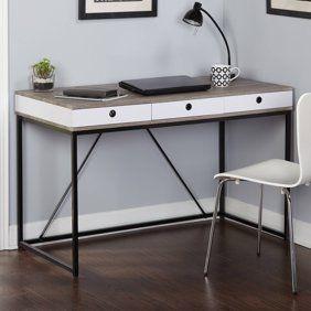 Homestar Horatio Computer Desk With Metal Base Walmart Com Desk With Drawers Desk Desk Modern Design