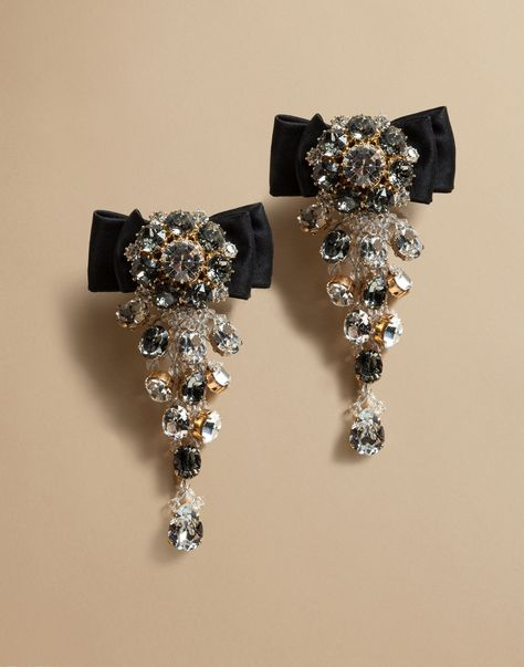 Dolce & gabbana earrings with satin bow and crystals, earrings women