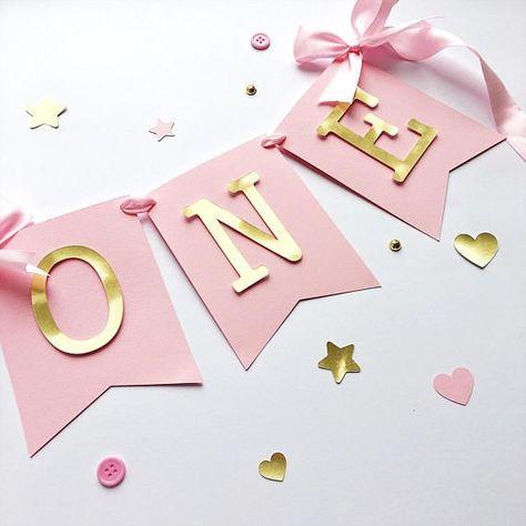 Pink Gold Hochstuhl Banner Baby Girl 1 Geburtstag Banner Ein