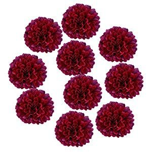 Artificial Silk Chrysanthemum Bridal Bouquet 10 Flower Head Wedding Burgundy