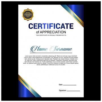 قالب شهادة تقدير إبداعية باللون الأزرق شهادة قالب التقدير Png والمتجهات للتحميل مجانا Award Template Certificate Design Template Certificate Of Appreciation