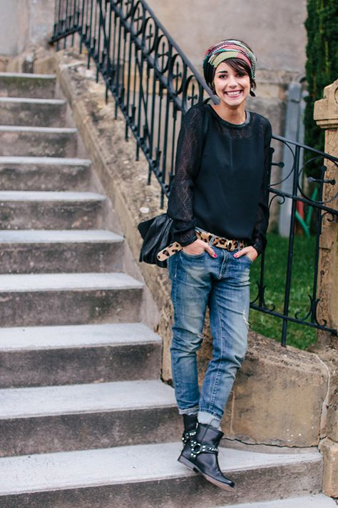 boyfriend jeans, black boots, black lace shirt, leopard belt, french style