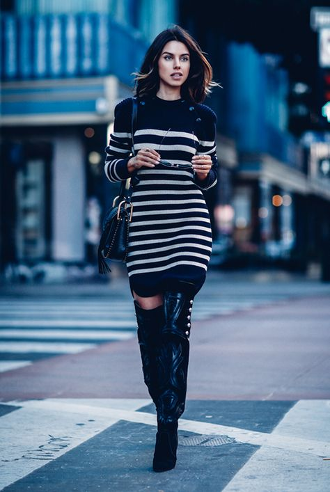Fall / Winter - street style - street chic style - fall outfits - casual outfits - navy and white striped knit dress + black thigh high heeled boots + black shoulder bag