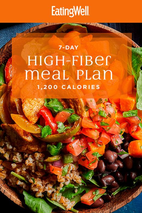 In this high-fiber meal plan, your meals and snacks for the week are all planned for you to make it easy and delicious to get your fill of fiber every day. Fiber Rich Foods, High Fiber Foods, High Fiber Recipes, High Fiber Snacks, High Fiber Dinner, High Fiber Breakfast, High Fiber Diet Plan, Diet Meal Plans, Meal Prep