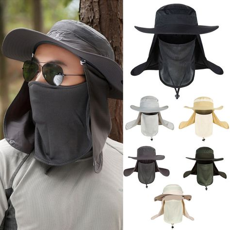 584730fd Hiking Fishing Hat Outdoor Sport Sun Protection Neck Face Flap Cap Wide  Brim Hot
