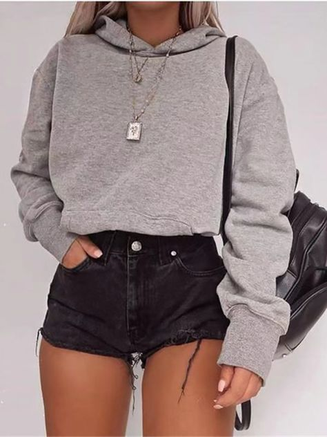 Casual Hooded Long Sleeved Short Sweatshirt
