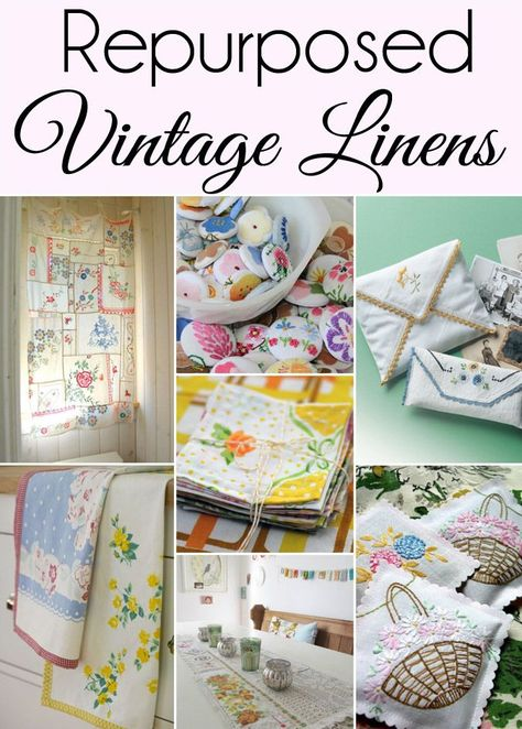If you have a collection of Vintage Linens you will love this roundup of 15 Cute Ways to Repurpose and Upcycle Vintage Linens 9 is my favorite Included are even a few vin. Vintage Upcycling, Vintage Crafts, Upcycled Vintage, Vintage Sewing, Vintage Lace, Vintage Decor, Art Vintage, Repurposed Items, Upcycled Crafts