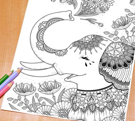 attractive elephant with floral decoration  adult coloring page print  coloring pages adult