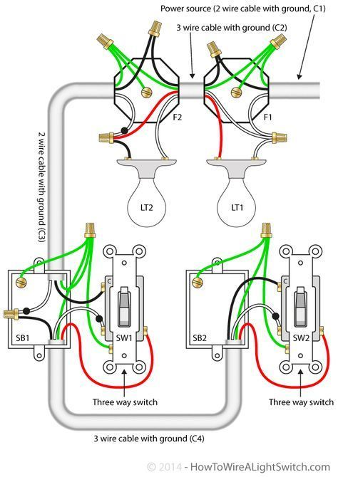 3 Way Switch With Power Feed Via The Light Multiple Lights How To Wire A Light Switch Home Electrical Wiring Electrical Wiring Light Switch Wiring