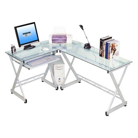 Techni Mobili L Shaped Tempered Glass Top Computer Desk With Pull Out Keyboard Tray Clear Rta 3802 Gls Walmart Com L Shaped Corner Desk L Shaped Glass Desk Glass Computer Desks