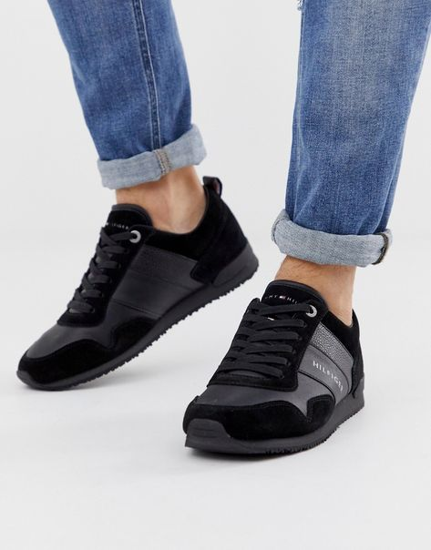 black Tommy Hilfiger Iconic Leather Suede Mix Runner